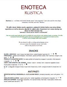 Enteca Rustica, Pizzeria Rustica, Colorado Springs, Rocky Mountain Food Report, Old Colorado City