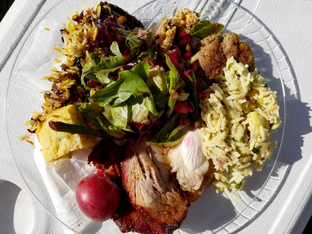 My plate. Crispy rice, cornbread, beet salad, falafel, artichoke rice, super-moist turkey and incredible Wheeler pork.