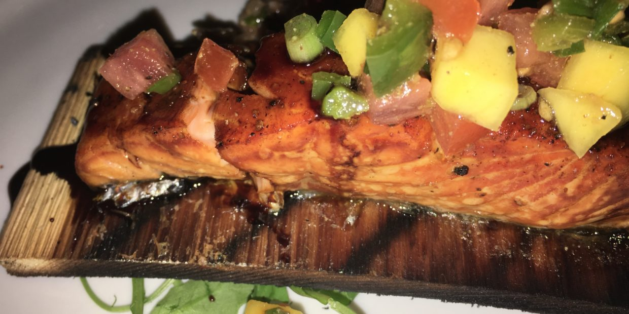 Cedar plank salmon with mango relish from 2South chef Supansa Banker.
